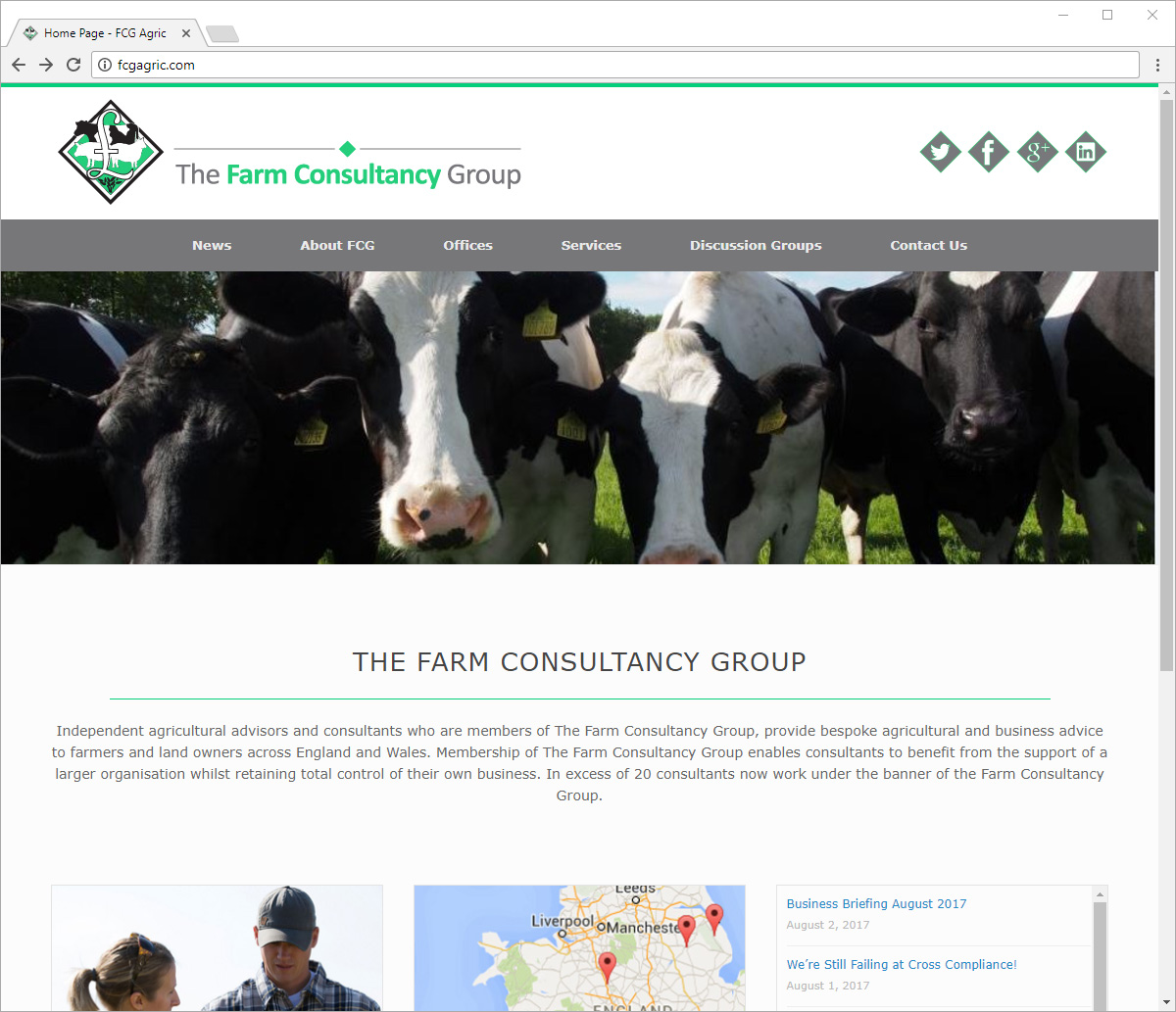Computer screen preview of Farm Consultancy Group website