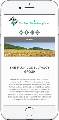 Mobile phone screen preview of Farm Consultancy Group website