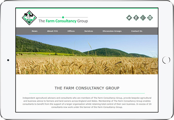 Tablet screen preview of Farm Consultancy Group website